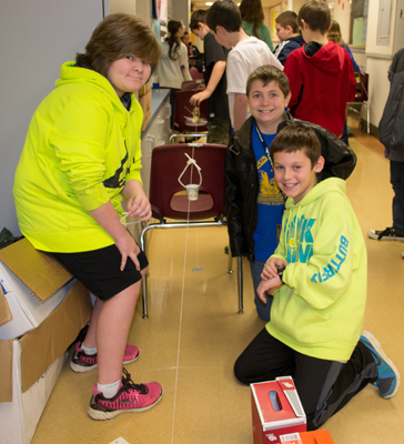 Fifth graders designed carriers to ferry ping pong balls two meters in more than four seconds